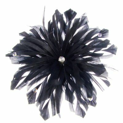 Lima Decorated Feather Fascinator on Comb in Black (e7208blk)