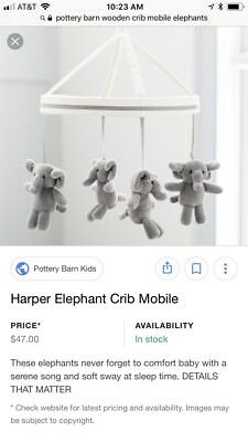 NWT NIB Pottery Barn Kids Harper Elephant  Mobile