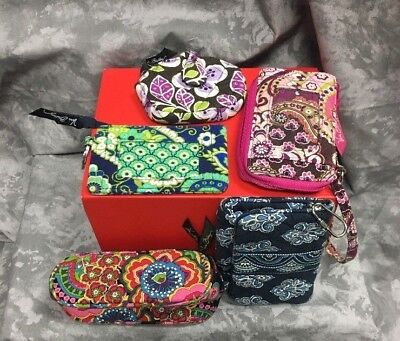 Lot of 5 VERA BRADLEY 2 Wallets, 2 Change Purses, 1 Glasses Case RETIRED