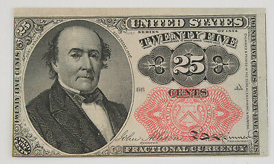 1874-1876 5th Issue 25 Cent Fractional Currency Note FR-1308 AU About Unc
