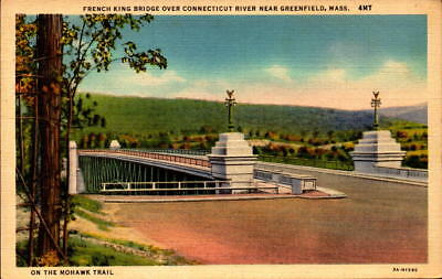 Postcard French King Bridge Connecticut River Greenfield Mass.  Unused Linen