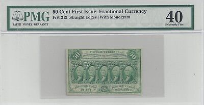 Fr# 1312, 50 Cent 1st Issue, PMG Extremely Fine 40