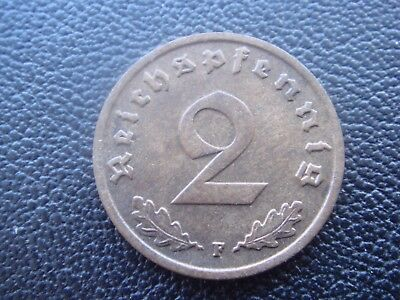 Rare Old WWII Antique Germany 1937 F 3rd Reich SS Nazi Eagle 2 pfenning Coin H