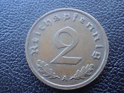 Rare Old WWII Antique Germany 1938 A 3rd Reich SS Nazi Eagle 2 pfenning Coin H1