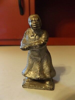 "Black Americana Mammy Figurine Cast Iron Aunt Jemima Figurine Heavy 3.50"" Tall"