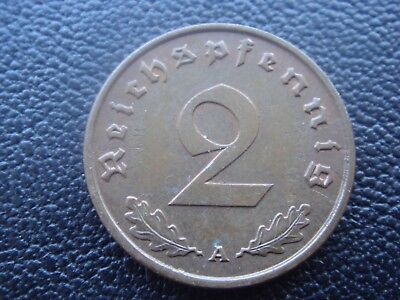 Rare Old WWII Antique Germany 1940 A 3rd Reich SS Nazi Eagle 2 pfenning Coin H1