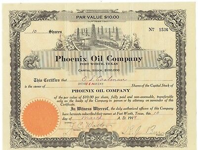Original 1919 Phoenix Oil Company Stock Certificate 10 Shares Fort Worth Texas