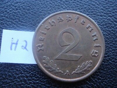 Rare Old WWII Antique Germany 1940 A 3rd Reich SS Nazi Eagle 2 pfenning Coin H2