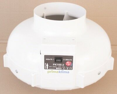 Prima Klima  Pk160-2  in-line Fan / extracteur / estrattore  aspiratore  2 speed
