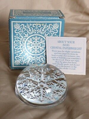 NEW Vintage Avon 24% Lead Crystal Clear Snowflake Paperweight - Old Stock