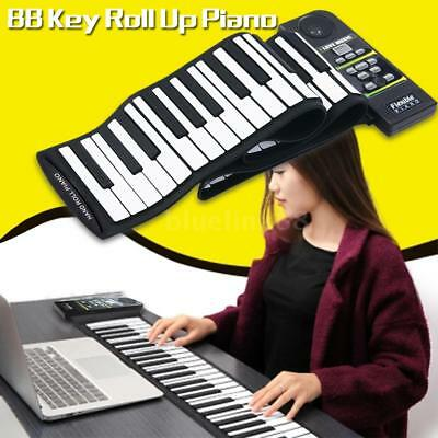 88 Key Electronic Piano Keyboard Silicon Flexible Roll Up Piano with Loud P7I3