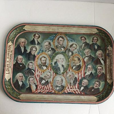 Gorgeous Color Advertising Tray With Washington-Mc Kinley C. 1897