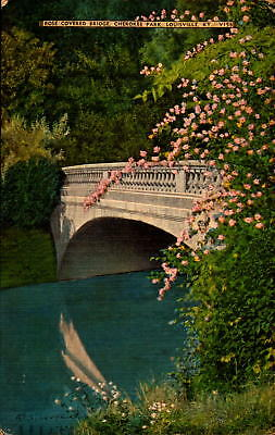 Postcard Rose Covered Bridge Cherokee Park Louisville Kentucky