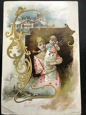 Antique Lion Coffee Woolson Spice Christmas / Holiday Greetings 1890