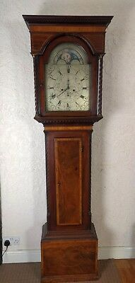 Scottish Mahogany Moon Roller Brass Faced Longcase Grandfather Clock Circa 1820