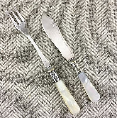Antique Pickle Fork & Butter Spreader Mother of Pearl Silver Plated Victorian