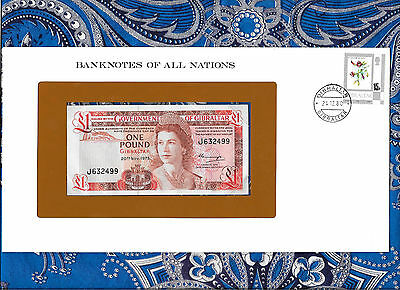 *Gibraltar 1 pound 1975 AUNC P20a Prefix J Banknotes of All Nations