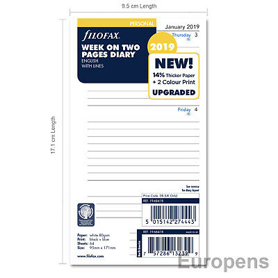 Filofax 2019 Personal Size Week on Two English Lined Diary Refill (68418)