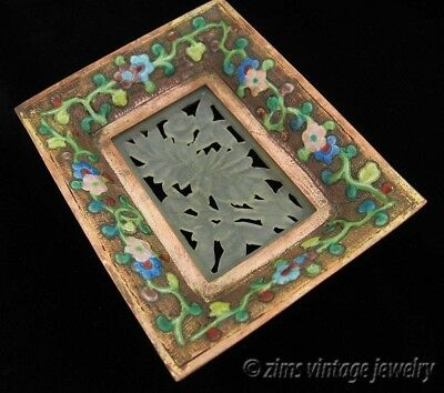 Antique ART DECO Chinese carved JADE colorful Floral enamel Copper TRAY pin Dish