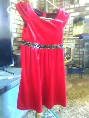 George ,red vevet dress with black sequenced belt beautiful size 7/8 buy it now!