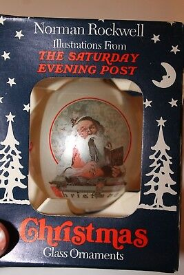 180130H-Norman Rockwell Saturday Evening Post Curtis Christmas Glass Ornamen