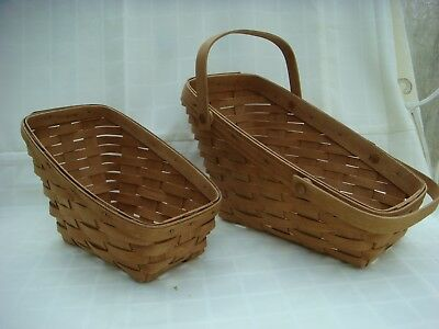 Set of 2 Longaberger 1987 small and med vegetable baskets (used)