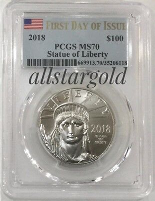 2018 $100 American Platinum Eagle PCGS MS70 FDOI Statue of Liberty Label
