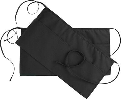 Waist Apron with 3 Pockets Black 24x12 inches Restaurant Half Aprons Set of 2