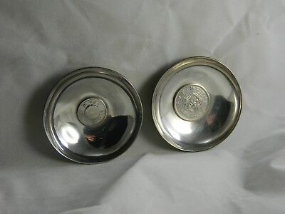 Japanese silver coins double phoenix & 50 sen in silver K. Uyeda tray dish