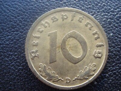 Rare Old WWII Antique Germany 1938 D 3rd Reich SS Nazi Eagle 10 pfenning Coin H2