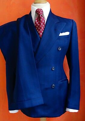 Superb & Authentic 1940's Vintage Custom Tailored Navy Check Suit, size 36
