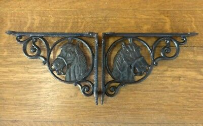 "2 BROWN ANTIQUE-STYLE 9"" HORSE SHELF BRACKETS RUSTIC CAST IRON country western"