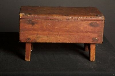 Antique Primitive Wooden Footstool Dark Red Paint Late 1800s Square Nails Farm