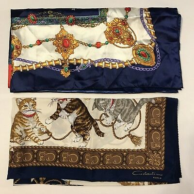 2 Scarves Square 100% Water Silk Cat Kitten Wrap Large Jewels Navy Vtg Scarf Lot