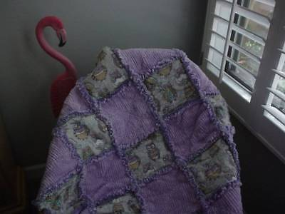 Girly Rag Quilt~ Funky Owls and Lavender Chenille