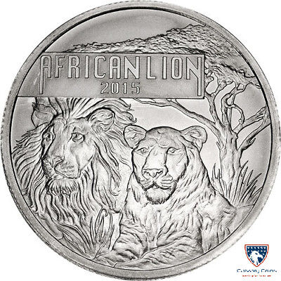 2015 1 oz Burundi Silver African Lion Coin (BU) with Light Spotting