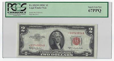 1953C $2 RED SEAL STAR 67PPQ Note