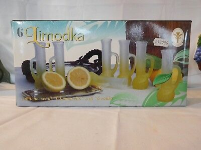 "Frosted 5 1/2"" Tall  Shot Glasses Set Of 6 Limodka Limoncello/Vodka"