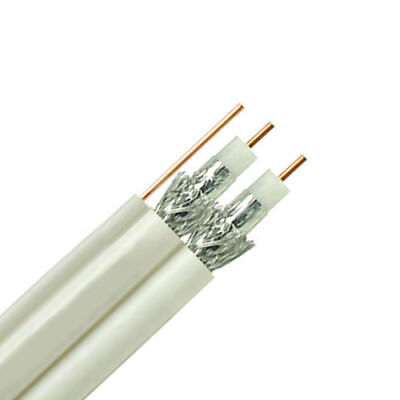 Dual RG6 Coax Coaxial Siamese Composite Cable with Ground Wire White - 500ft