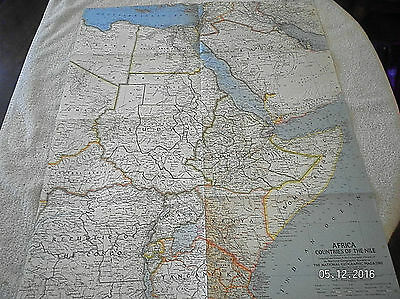 "1962 Vintage Map Of Africa ""nile Coastline Countries"" National Geographic ..."