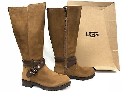 UGG Australia HARINGTON TALL Chestnut WATER RESISTANT BOOTS Buckle Deco 1017489