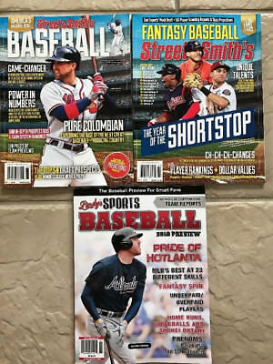 Lot Of 3 Baseball 2018 Preview Magazines Lindy's Street & Smiths + Fantasy