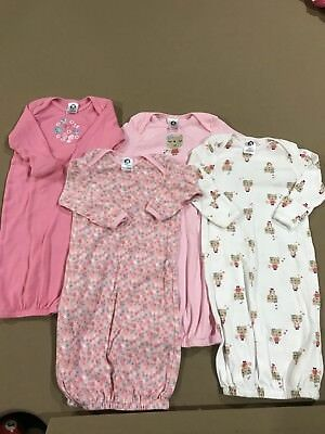 NWOT 4pc Set Of Gerber Baby Girl Gowns 0-6 Mths