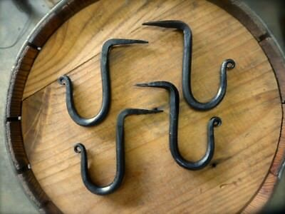 4 BLACK WROUGHT IRON DRIVE-IN SPIKE WALL HOOK RUSTIC ANTIQUE STYLE barn hardware