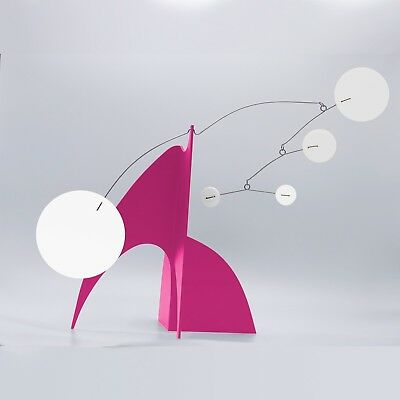 Lovely Pink Modern Art Sculpture Stabile - Table Top Mobile - Retro Atomic MOD
