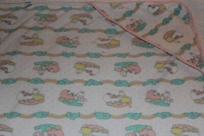 Vintage Carters Hooded Towel 100% Cotton Terry Rainbows Clouds Bunnies 30X30
