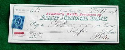 Vintage Green Bay, Wis. Strong's Bank / First National Bank check Oct 19 1878.