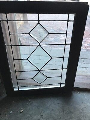 Sg2130 Antique Leaded And Beveled Glass Transom Window 23 X 28.5