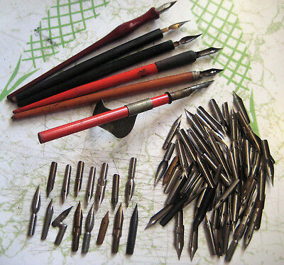 Large Vintage Lot Of Fountain Dip Pens & Nibs Calligraphy Myograph