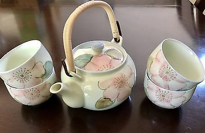 Japanese (High Gloss Hand Painted Signed) Tea Sake 6 Piece Set